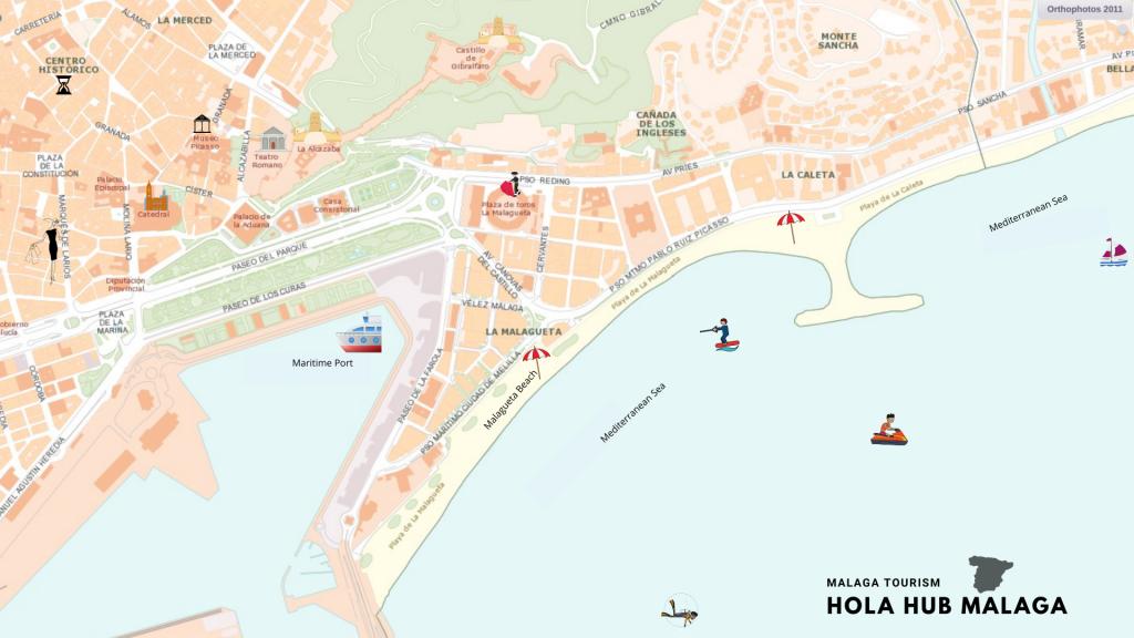 malaga map Andalusia costa del sol